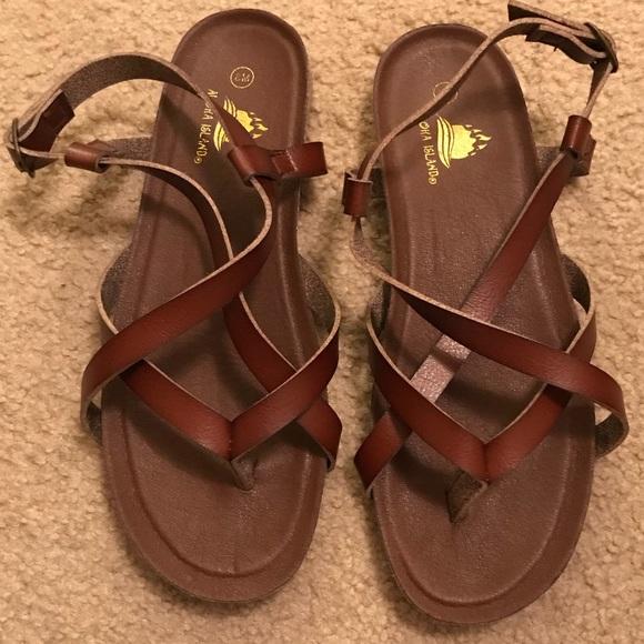 247104f56 Aloha Island Shoes - Brown strappy Sandles